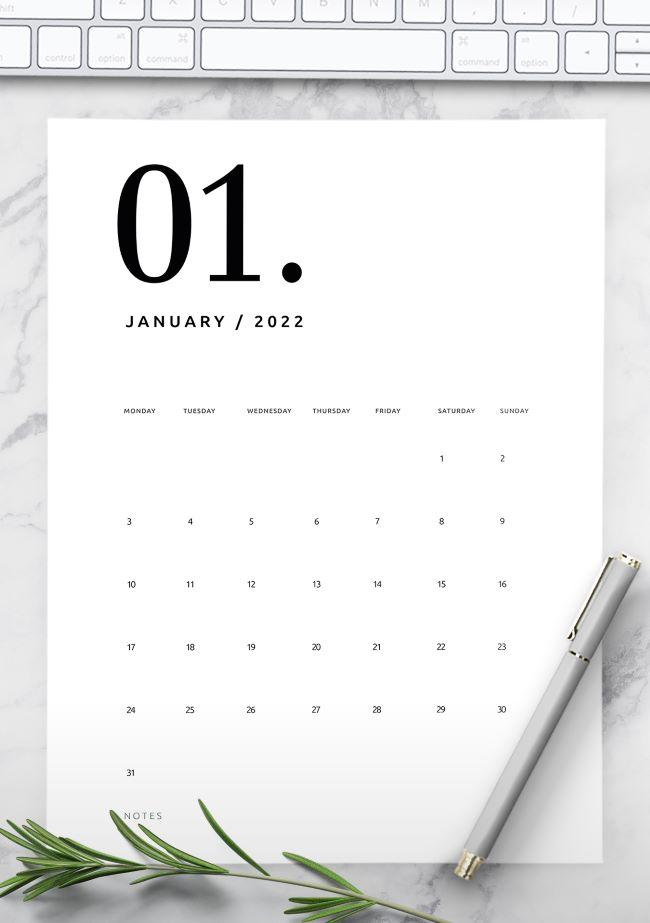 printable calendar 2022 - stylish calendar 2022