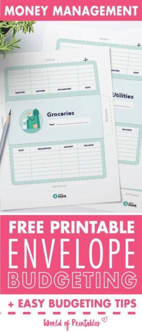 printable envelope budgeting system