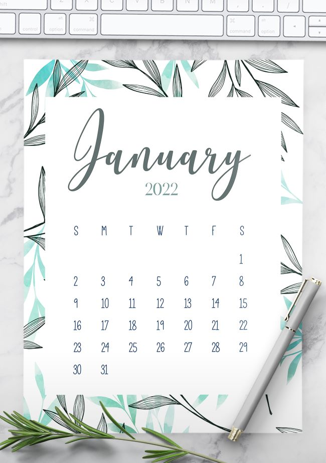 printable monthly calendar 2022 floral leaves