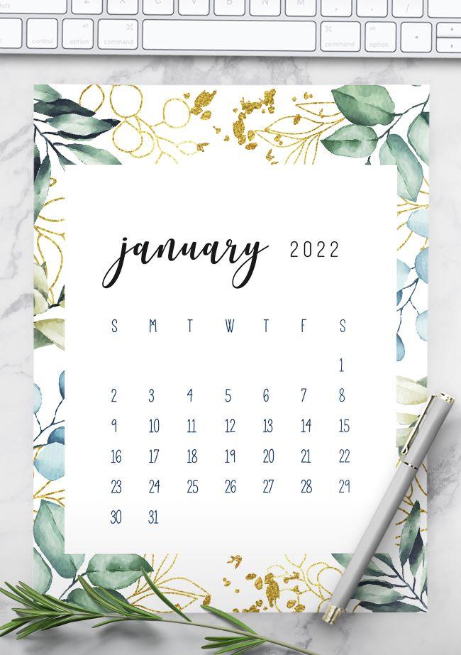 printable monthly calendar 2022 template