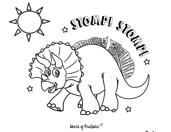 stomping dinosaur coloring page
