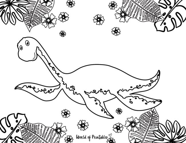 underwater dinosaur coloring page