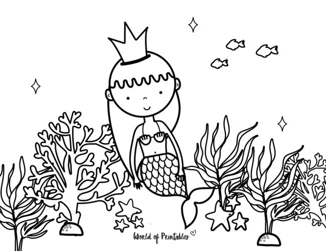 underwater mermaid coloring page