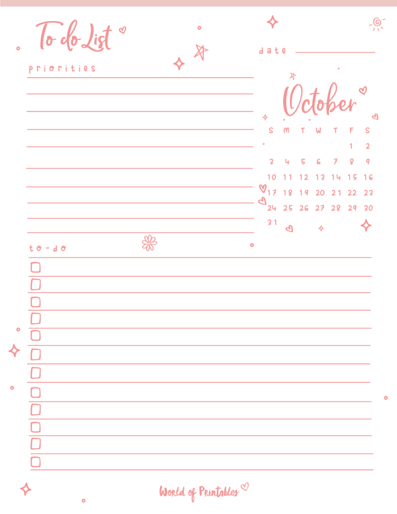Cute October 2021 To Do List Printable