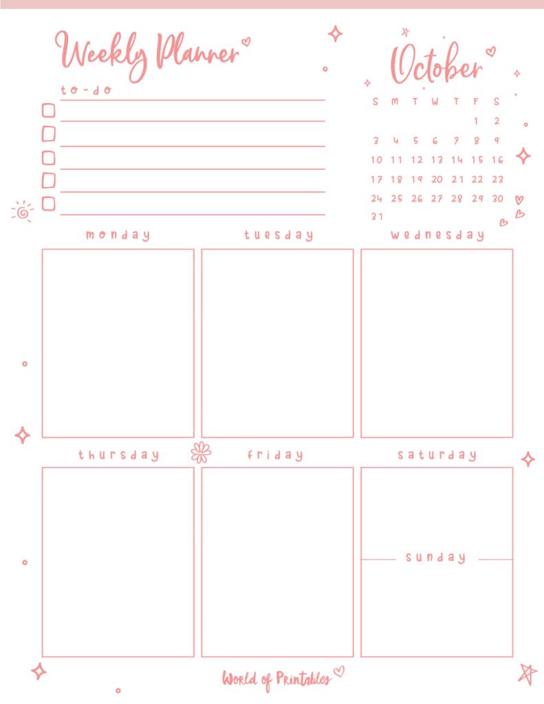 Cute October 2021 Weekly Planner Printable