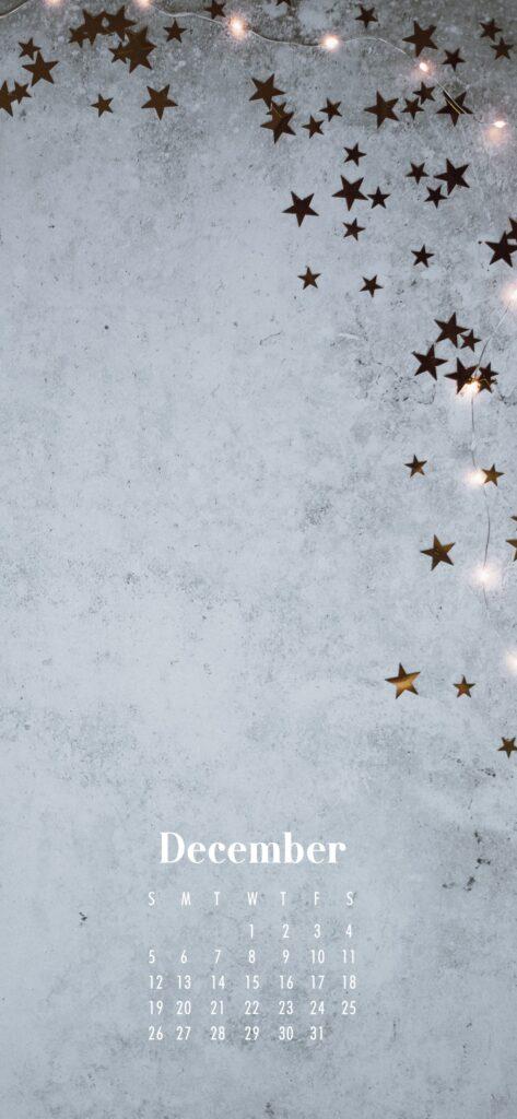 December 2021 Calendar Phone Aesthetic Wallpaper Gold Stars
