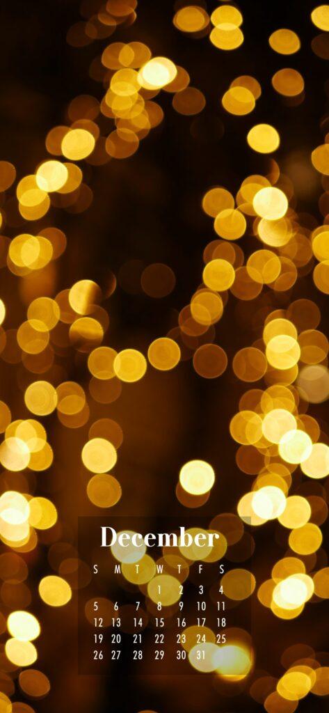 December 2021 Calendar Phone Aesthetic Wallpaper Golden Lights Bokeh