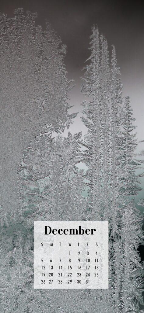 December 2021 Calendar Phone Aesthetic Wallpaper Ice Crystals