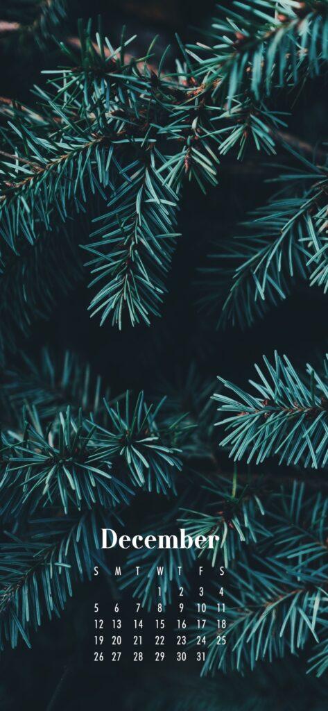 December 2021 Calendar Phone Aesthetic Wallpaper Pine Tree