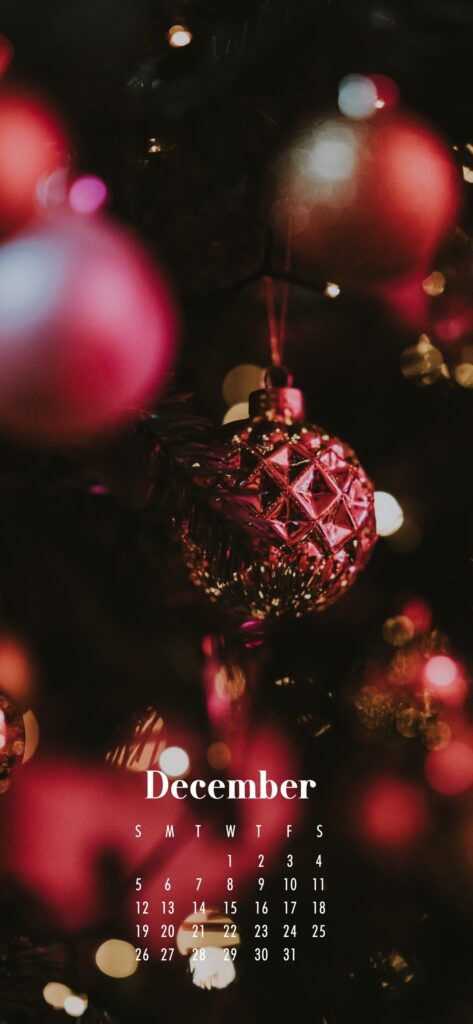 December 2021 Calendar Phone Aesthetic Wallpaper Red Christmas Decorations