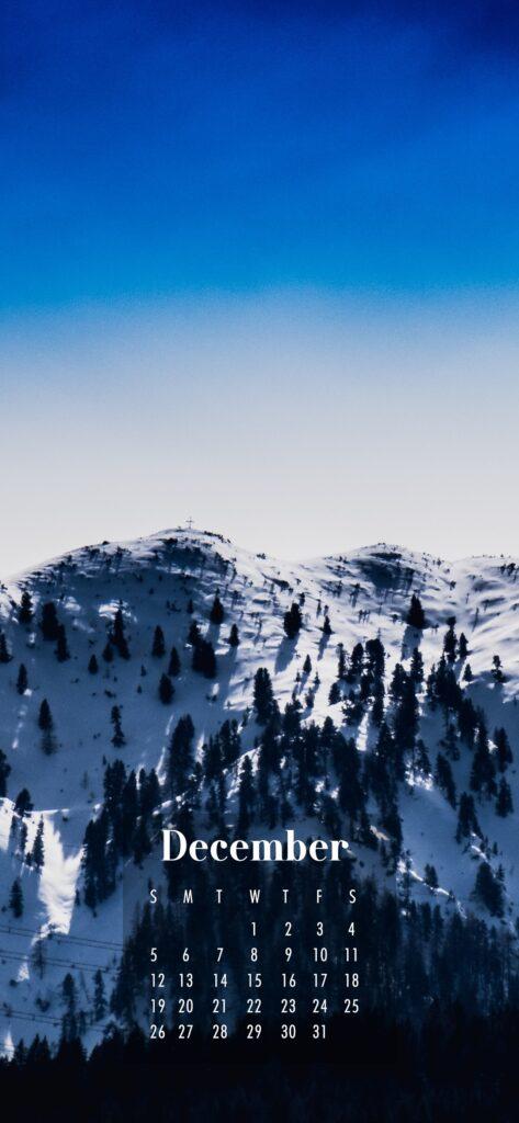 December 2021 Calendar Phone Aesthetic Wallpaper Snowy Mountains