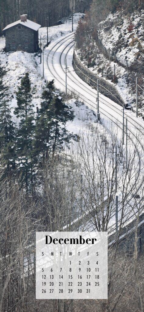 December 2021 Calendar Phone Aesthetic Wallpaper Snowy Road