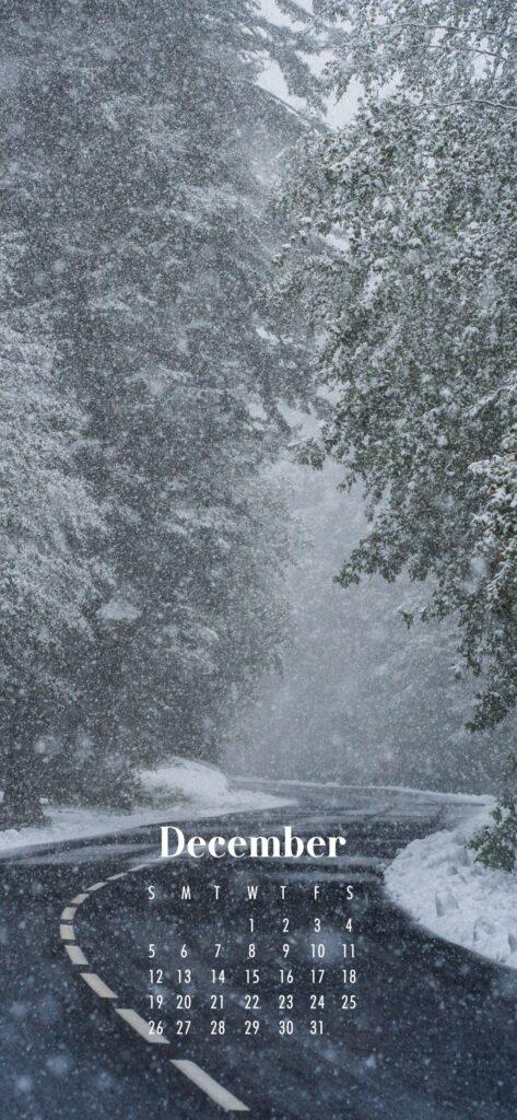 December 2021 Calendar Phone Aesthetic Wallpaper Snowy Road and Trees
