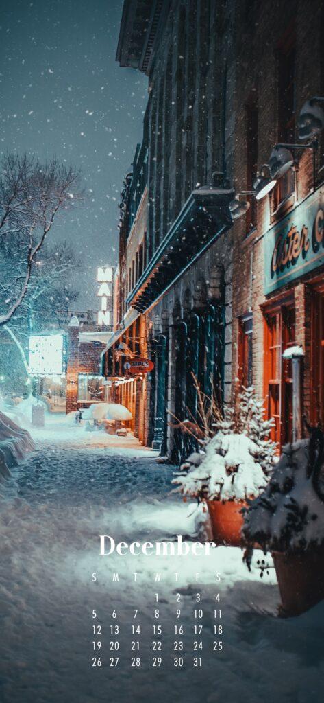 December 2021 Calendar Phone Aesthetic Wallpaper Snowy Streets