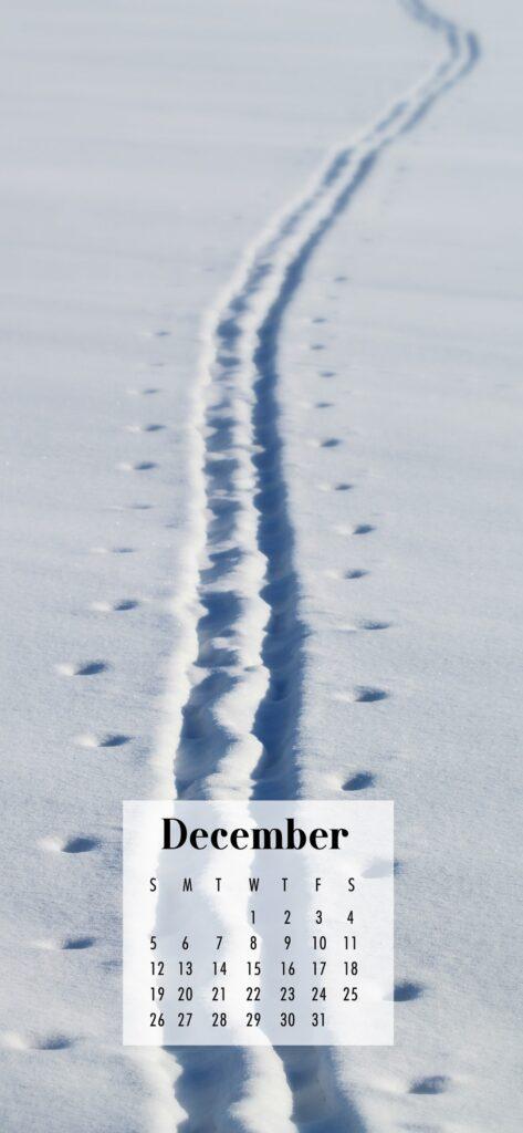 December 2021 Calendar Phone Aesthetic Wallpaper Snowy Tracks