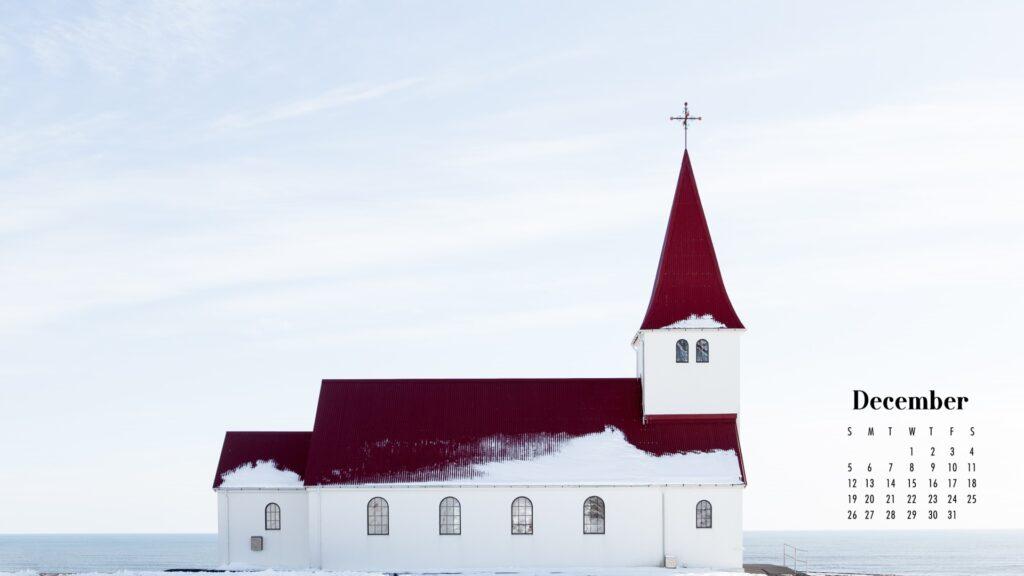 December 2021 Calendar Wallpaper Church in Snow