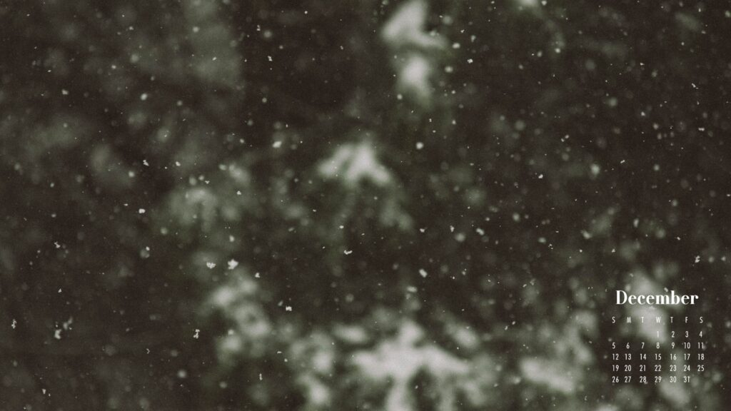 December 2021 Calendar Wallpaper Falling Snow