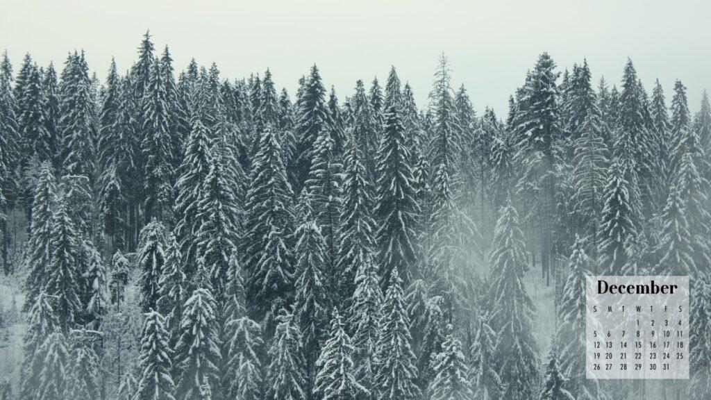 December 2021 Calendar Wallpaper Snowy Forest
