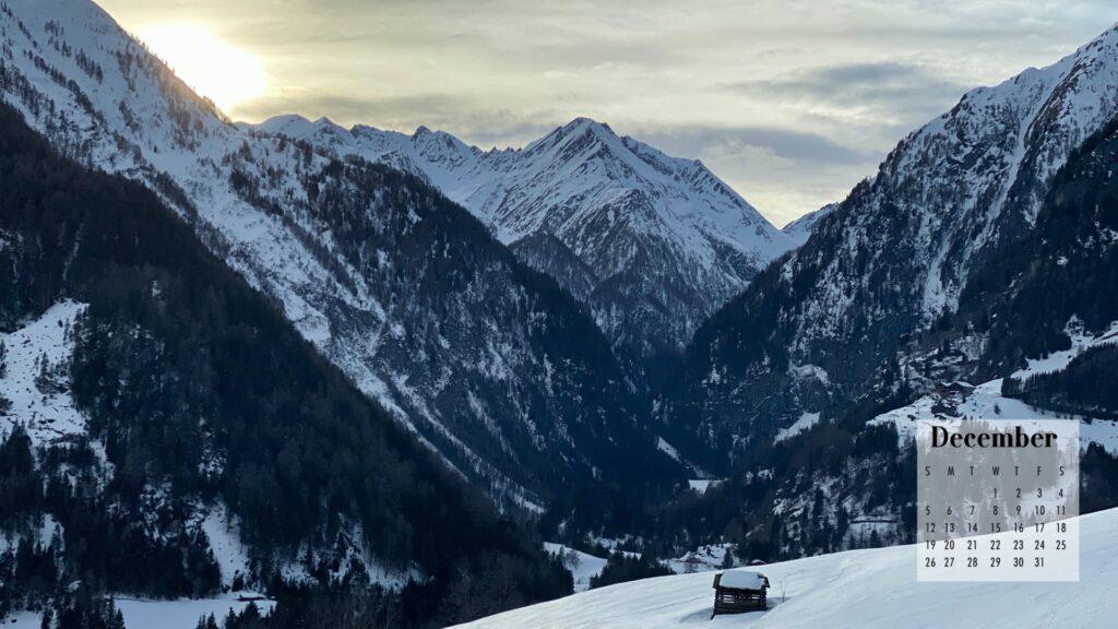 December 2021 Calendar Wallpaper Snowy Mountains