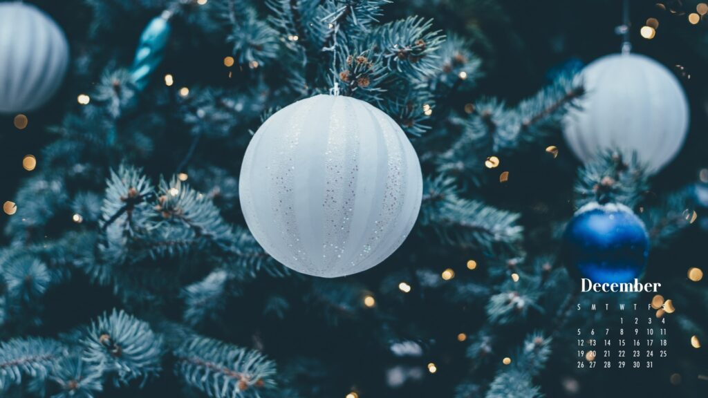December 2021 Calendar Wallpaper White and Blue Baubles