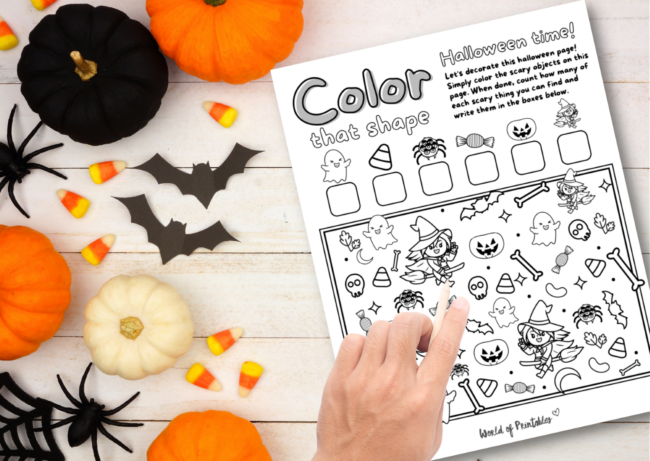 Free Printable I Spy Halloween Coloring Game