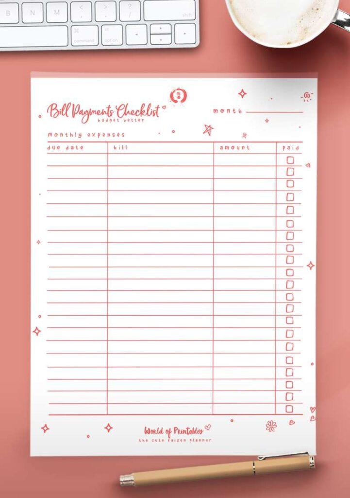Kaizen Printable Bill Payments Checklist