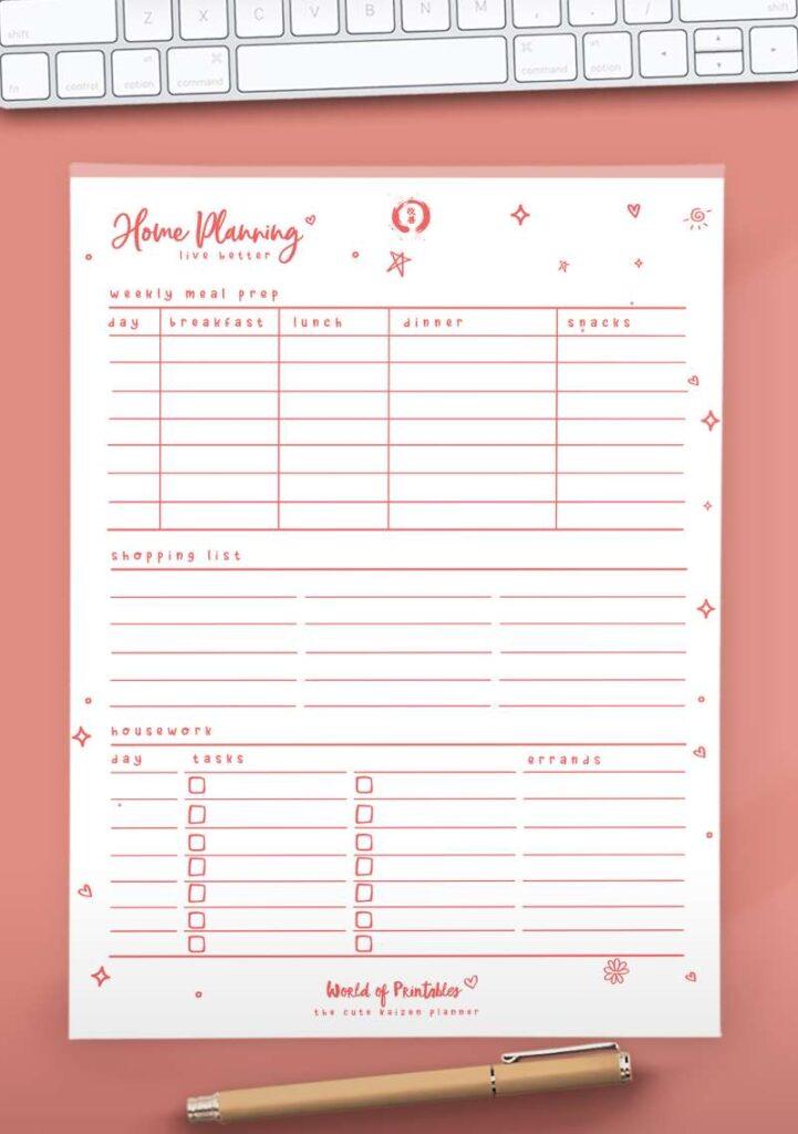 Kaizen Printable Home Planning