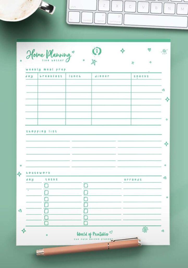 Kaizen Printable Home Planning - Green
