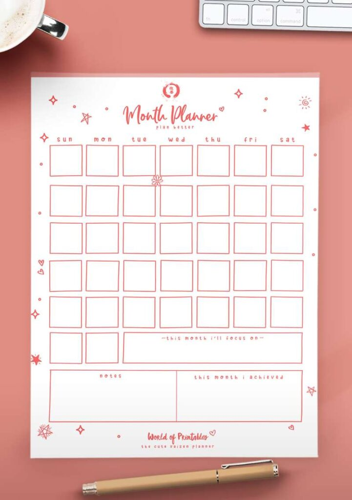 Kaizen Printable Monthly Planner