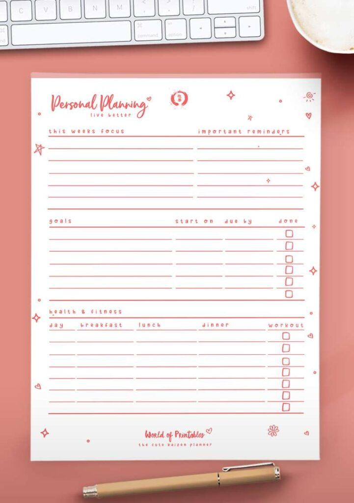Kaizen Printable Personal Planner