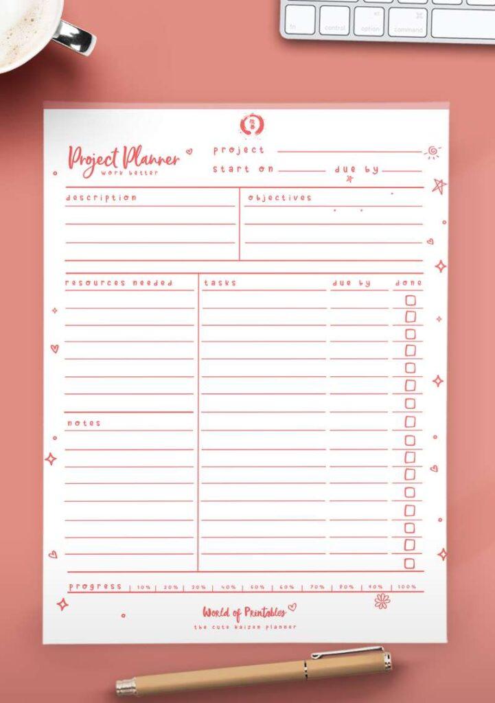Kaizen Printable Project Planner