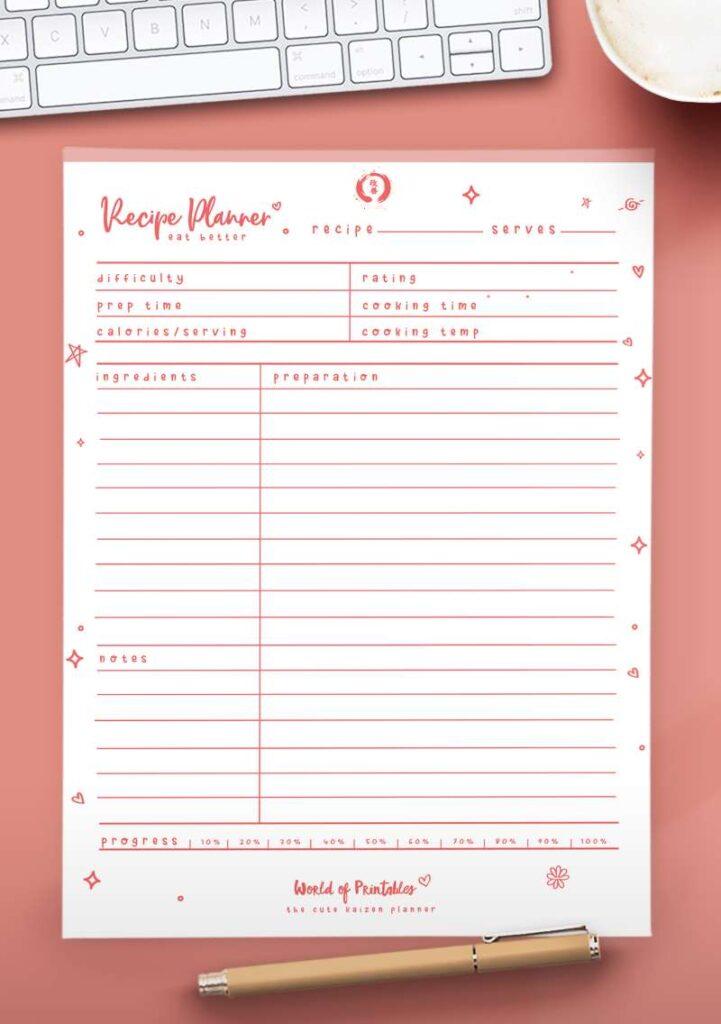 Kaizen Printable Recipe Planner