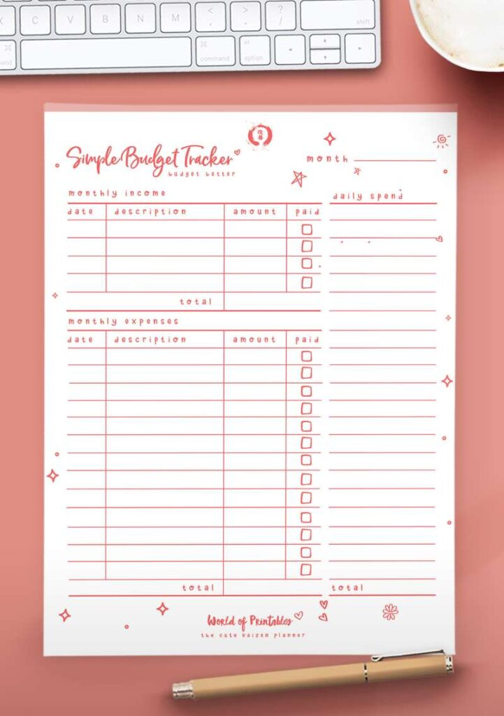 Kaizen Printable Simple Budget Tracker