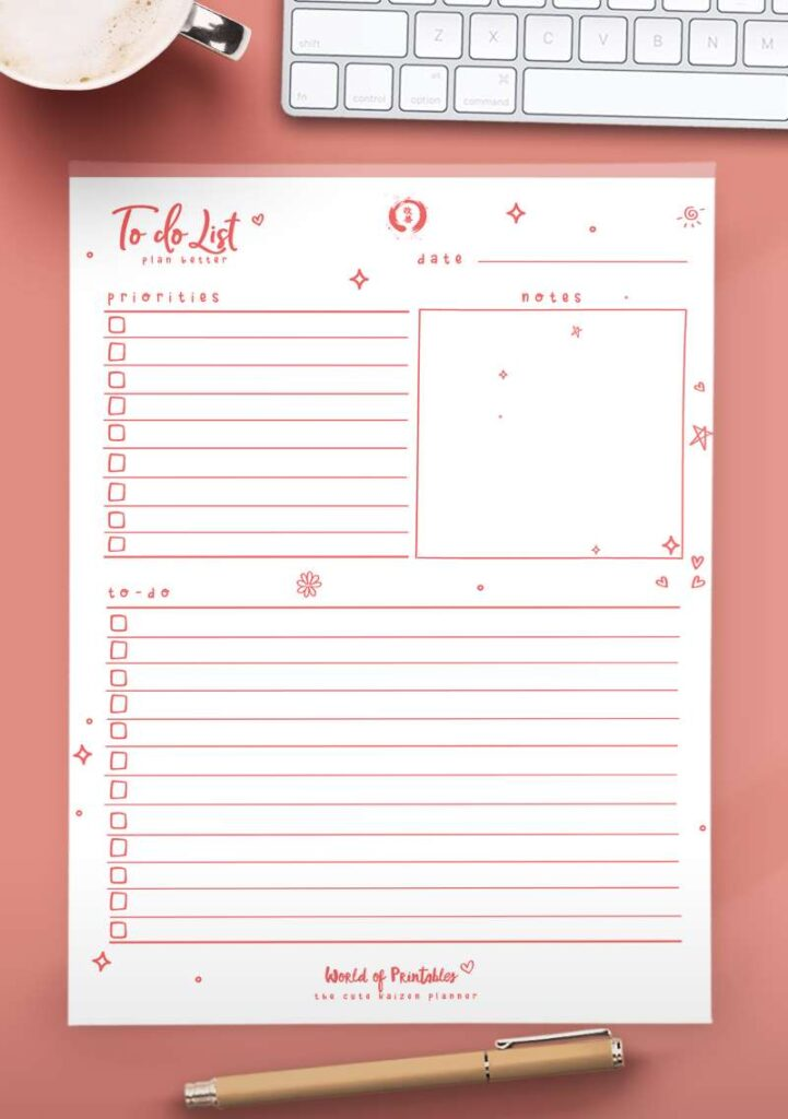 Kaizen Printable To Do List
