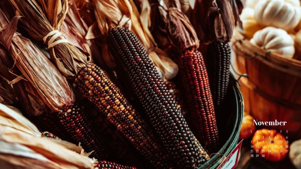 November 2021 Calendar Wallpaper Harvest Corn