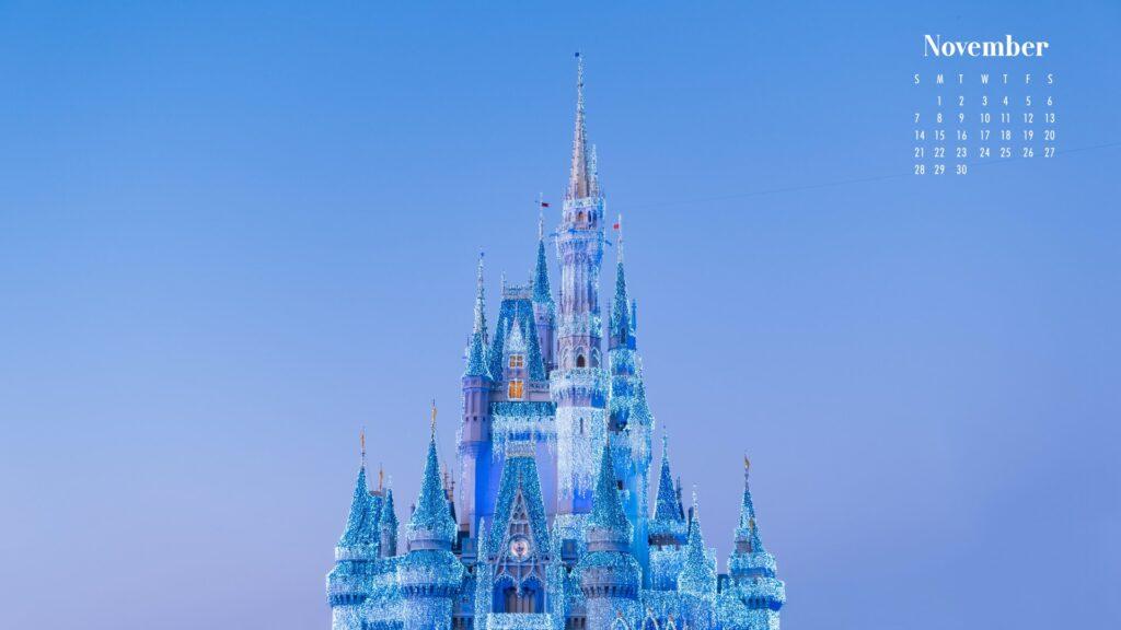 November 2021 Calendar Wallpaper Ice Palace Frozen