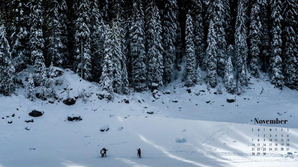 November 2021 Calendar Wallpaper Snowy Forest