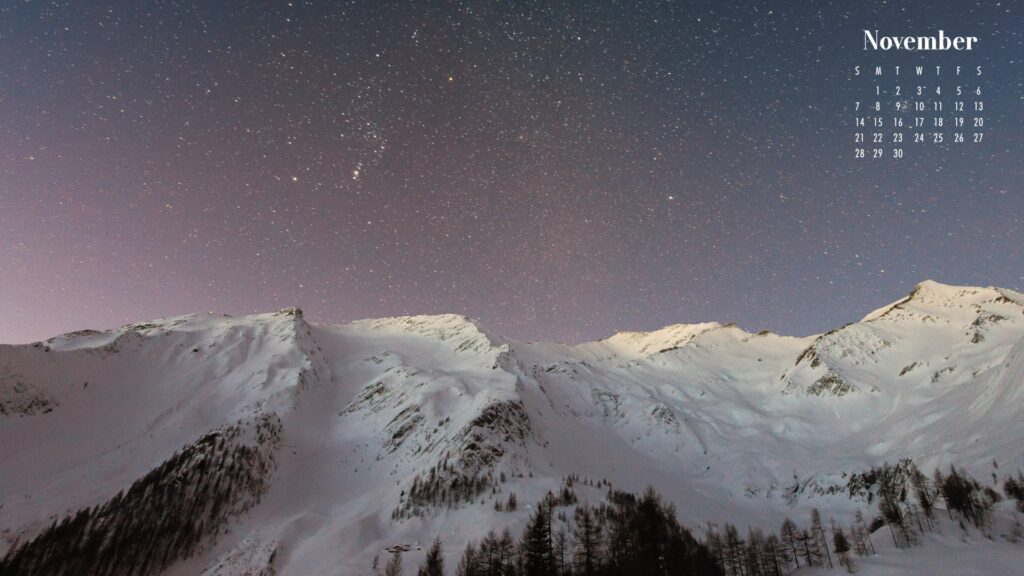 November 2021 Calendar Wallpaper Snowy Mountain Scene