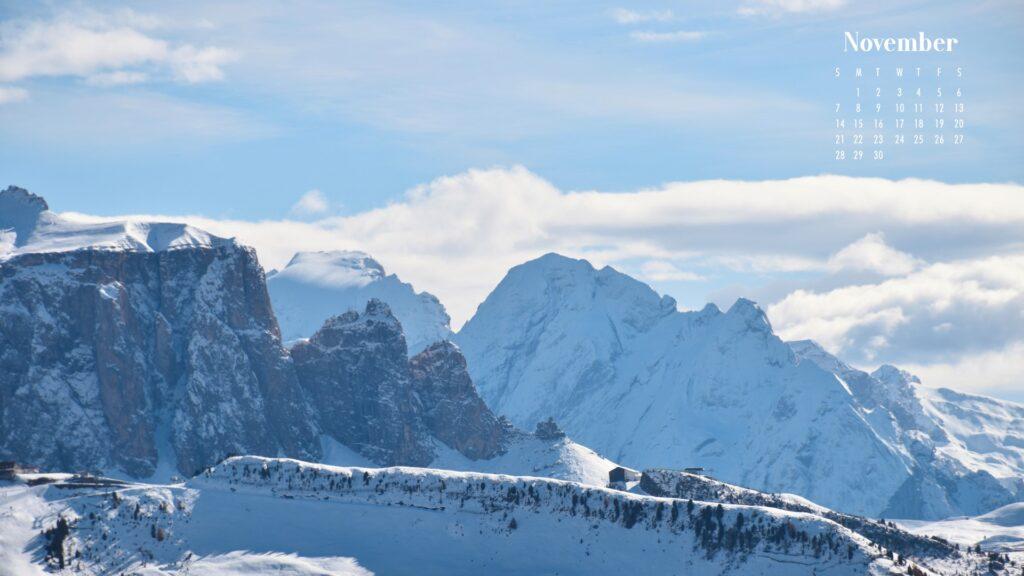November 2021 Calendar Wallpaper Snowy Mountains
