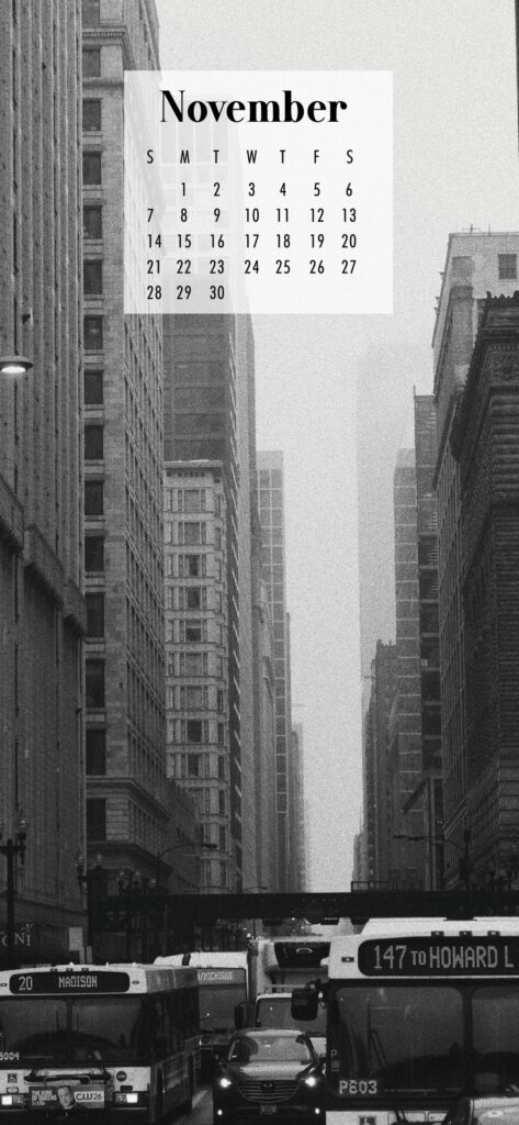 November Calendar Phone Wallpaper Black and White City