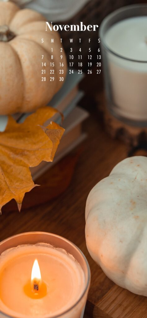 November Calendar Phone Wallpaper Candles And Pumpkins