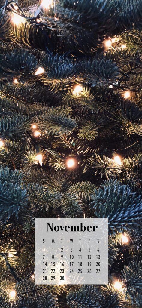 November Calendar Phone Wallpaper Fairy Lights In Tree