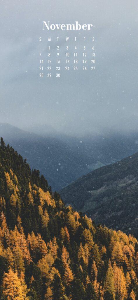 November Calendar Phone Wallpaper Forest Scene
