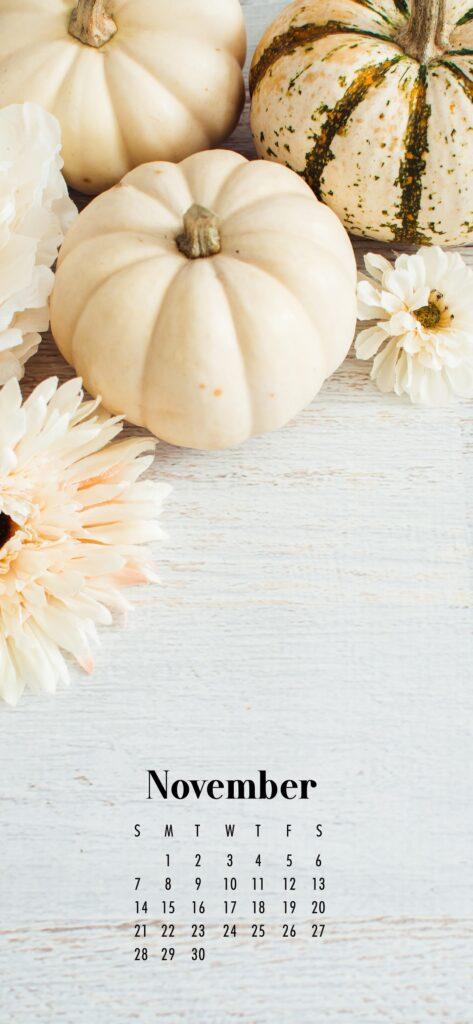 November Calendar Phone Wallpaper Ghost Pumpkins