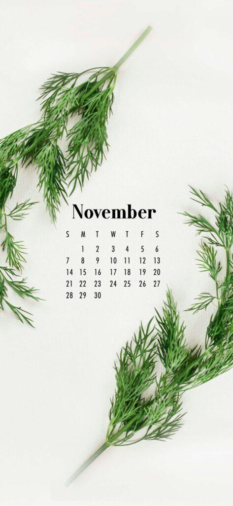 November Calendar Phone Wallpaper Greenery