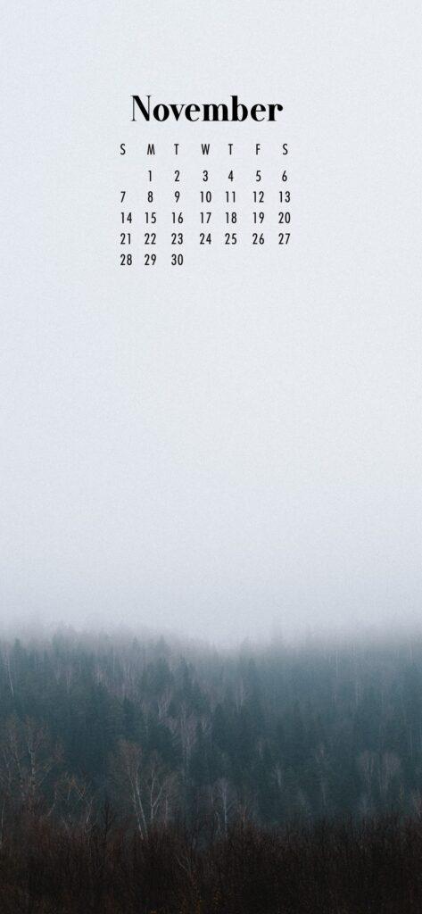 November Calendar Phone Wallpaper Misty Forest