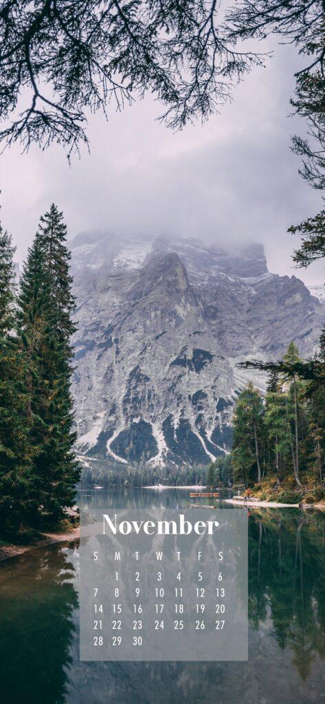 November Calendar Phone Wallpaper Mountains and Lake