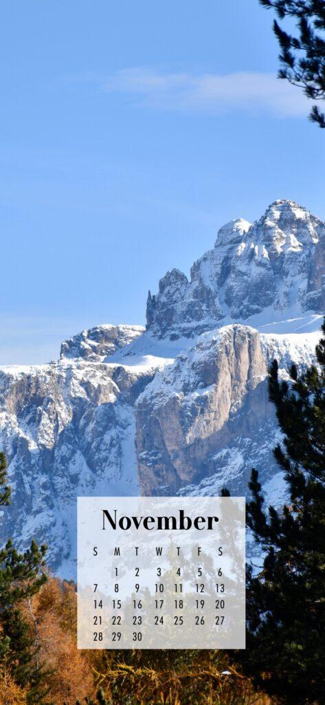 November Calendar Phone Wallpaper Snowy Mountain Peaks