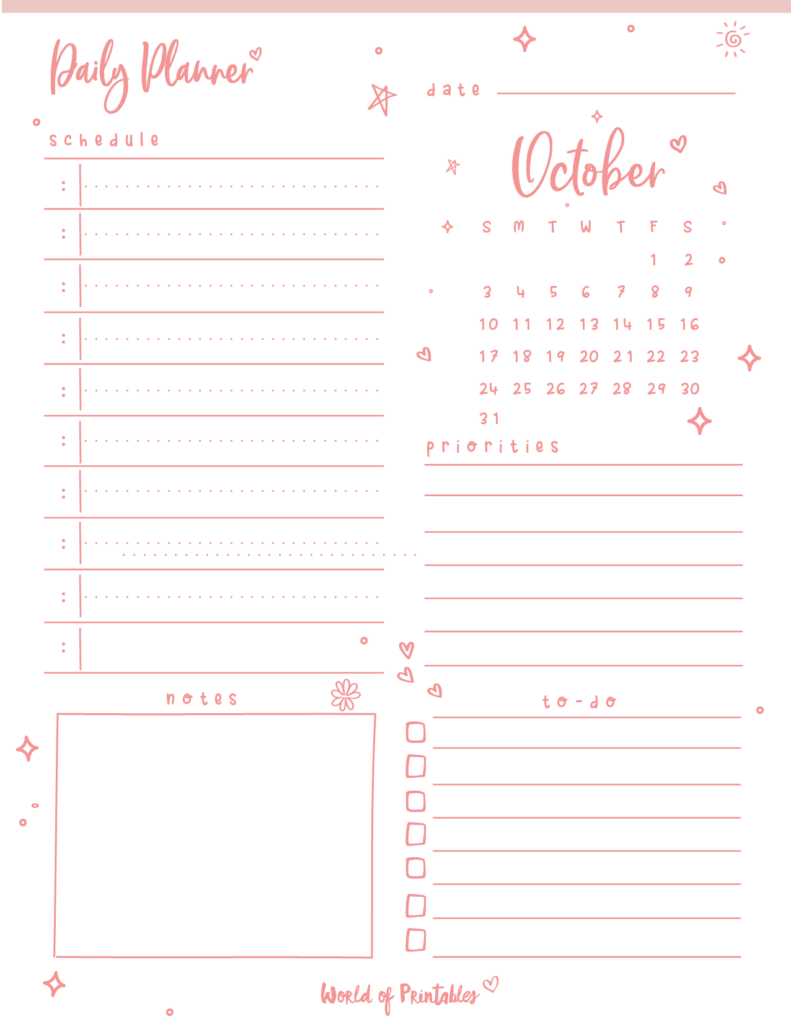 October 2021 Daily Planner Printable