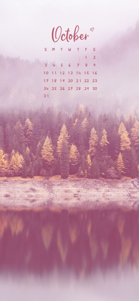 October Calendar Phone Wallpaper Background Fall Forest and River Scenery